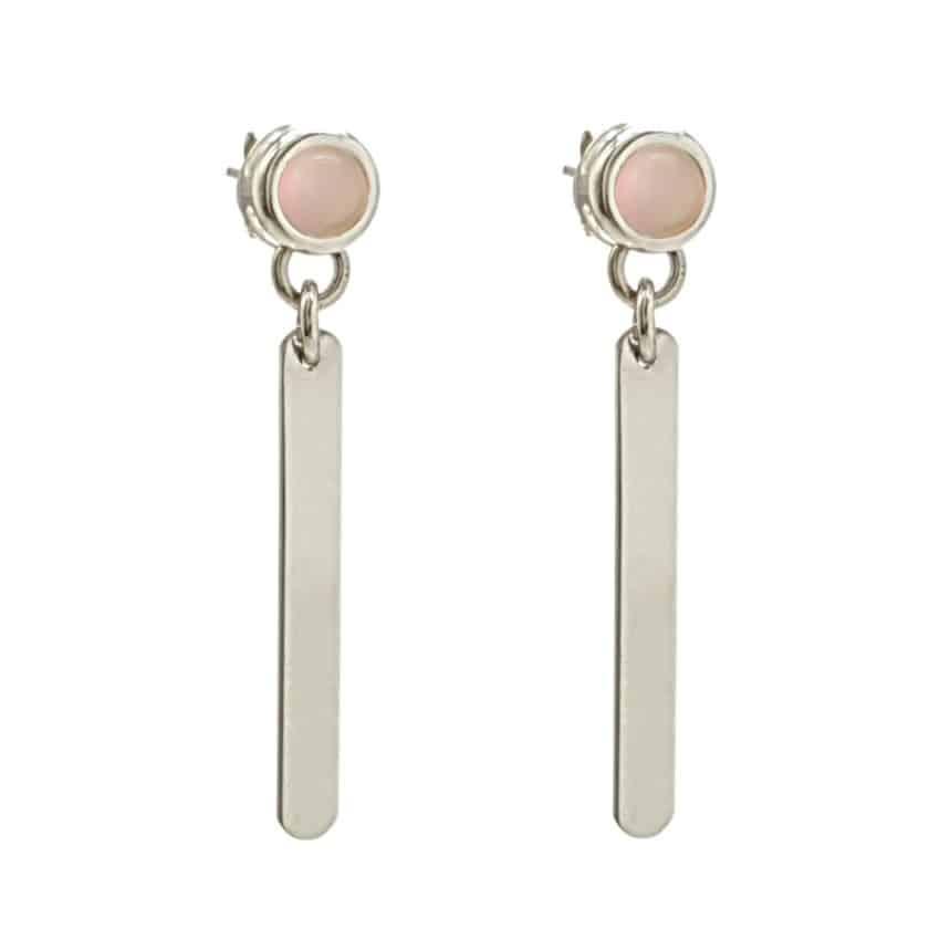 Pendientes largos de cuarzo rosa en plata (1)