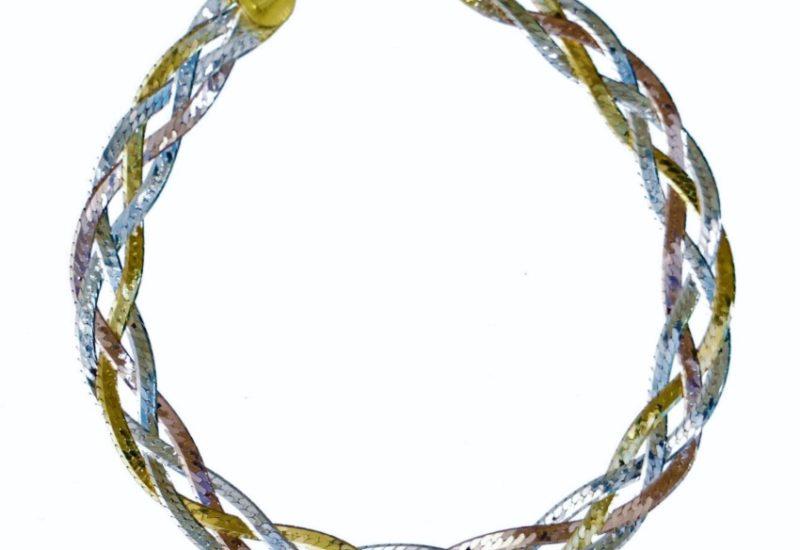 Pulsera trenzada de plata 925 con baño de oro amarillo, rosa y rodio