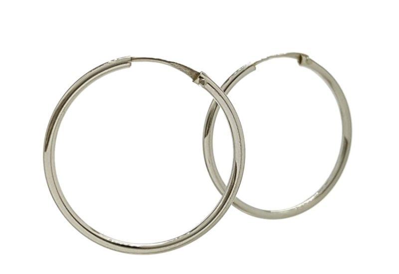 Aros lisos finos básicos de 40 mm. en plata 925