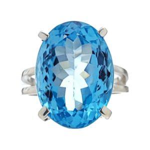 Anillo de plata 925 con gema semipreciosa de topacio azul de talla 14