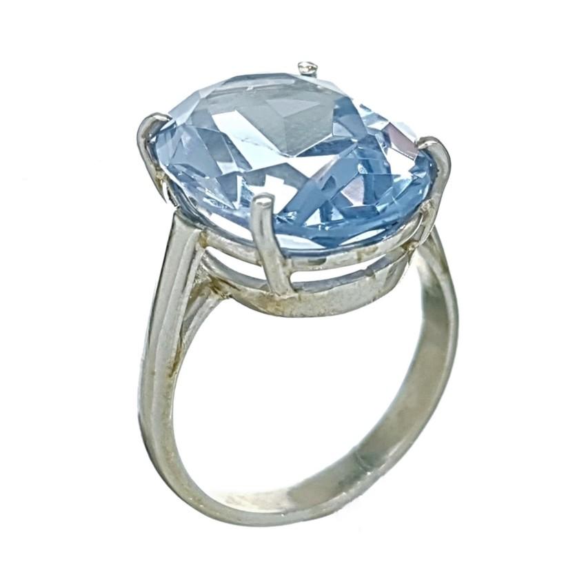 Anillo de plata 925 con gran piedra oval de topacio azul de talla 18 (6)