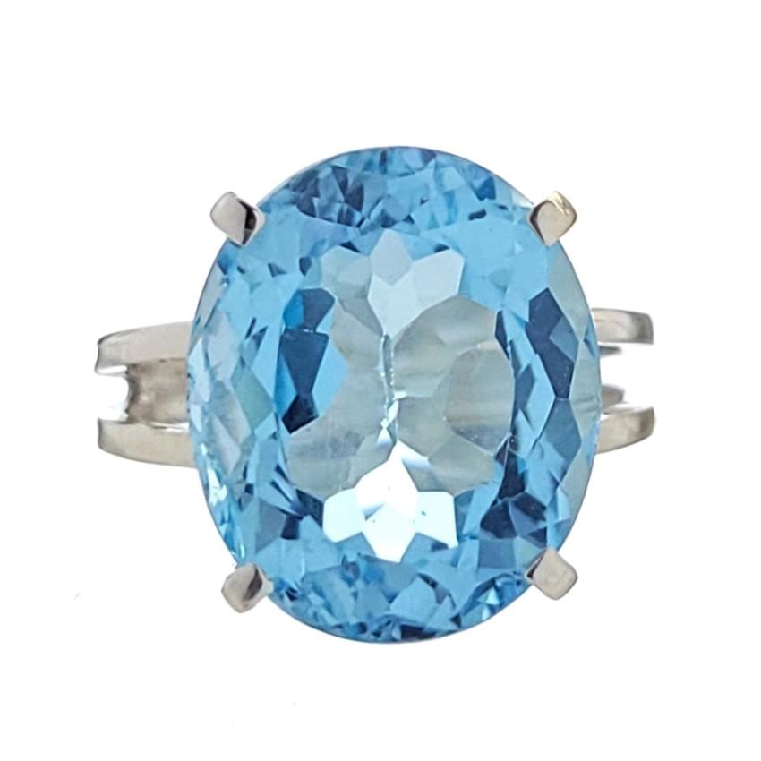 Anillo de plata 925 de Topacio Azul en talla 16 (2)