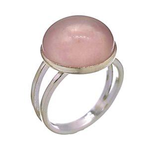 Anillo de plata 925 con piedra redonda de cuarzo rosa