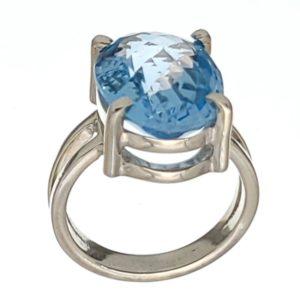 Anillo de plata 925 con piedra oval de topacio azul de talla 12