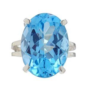 Anillo de plata con gema semipreciosa oval de topacio azul de talla 12