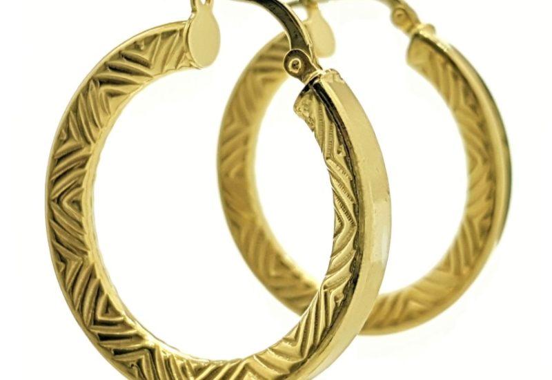 Aros plata 925 chapados en oro modelo Inca