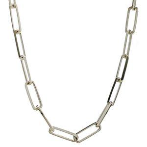 Cadena de plata de 50 cms. modelo Forzada rectángulos.