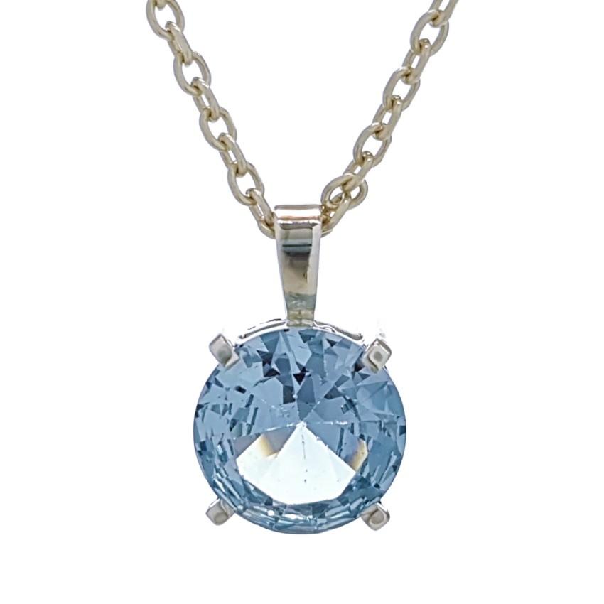 Colgante de plata 925 con piedra semipreciosa de talla diamante de topacio azul (1)