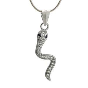 Colgante serpiente con circonitas en plata 925