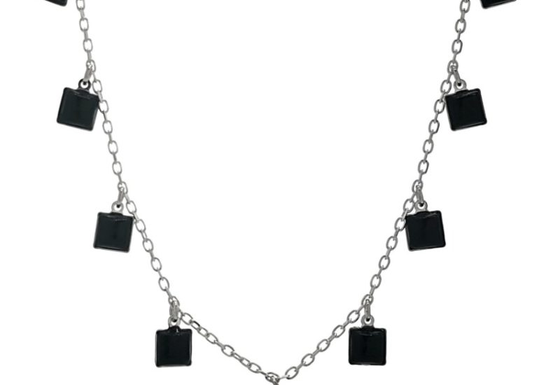 Collar gargantilla chapas cuadradas de ónix en plata 925