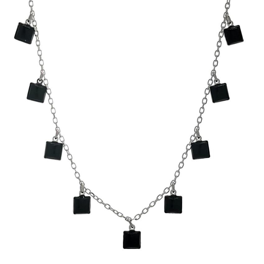 Collar gargantilla chapas cuadradas de ónix en plata (1)