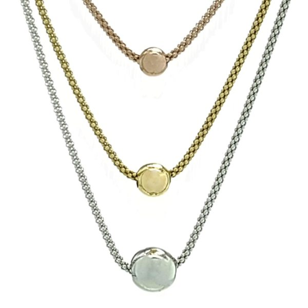 Collar largo de plata 925 de tres colores chapado oro, rosa y rodio (5)