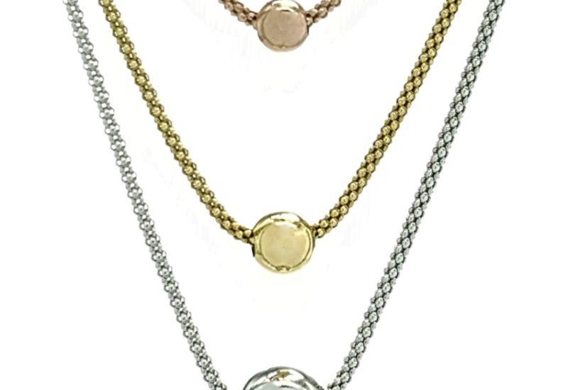 Collar largo triple cadena tricolor en plata 925