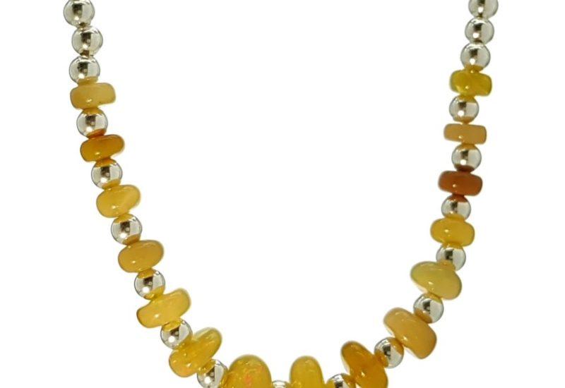Collar lentejas de ópalo Etíope y bolas de plata 925