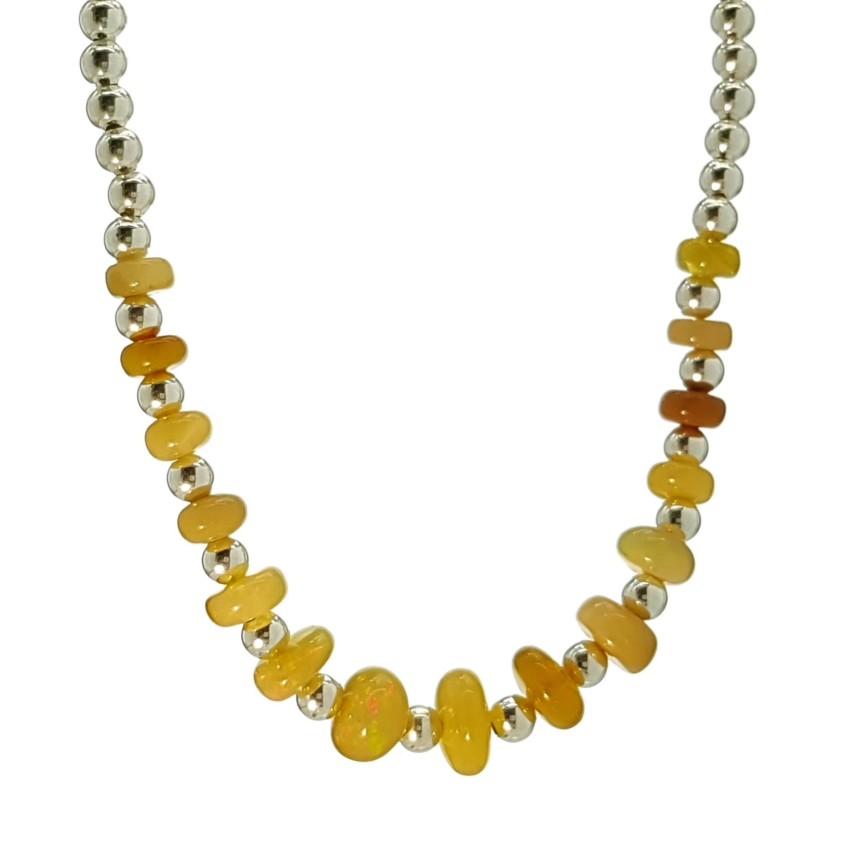 Collar lentejas de ópalo Etíope y bolas de plata 925 (3)