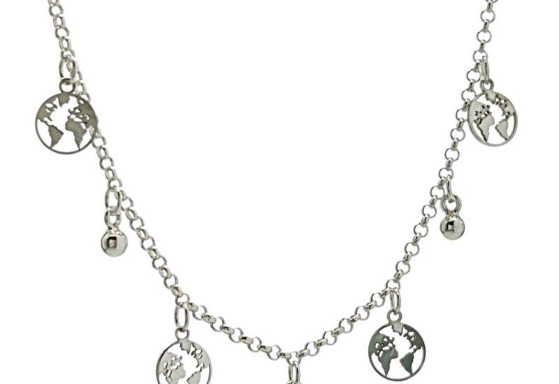 Gargantilla chapitas del mundo en plata 925