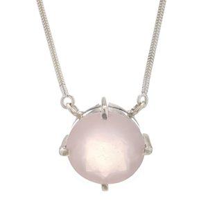 Gargantilla collar de cuarzo rosa en plata 925
