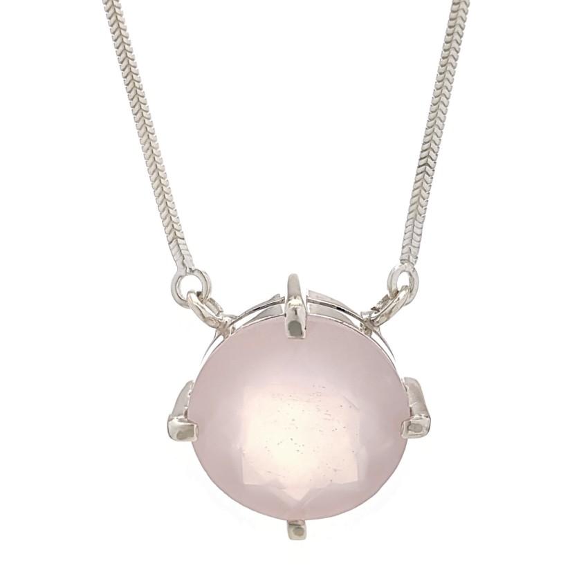 Gargantilla colgante cuarzo rosa en plata 925 (8)1