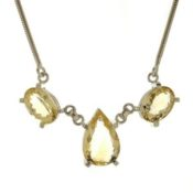Joya exclusiva collar gargantilla de cuarzo citrino en plata 925