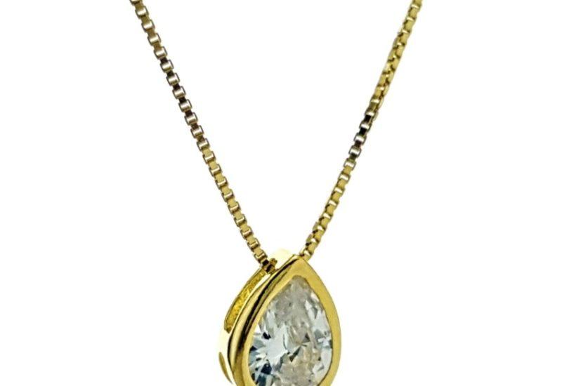 Gargantilla lágrima de circonita en plata 925 chapada en oro