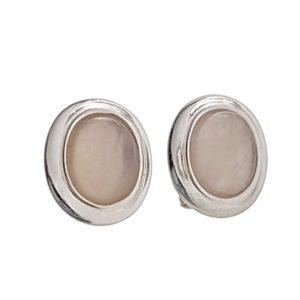 Pendientes piedras óvalos de cuarzo rosa en plata 925
