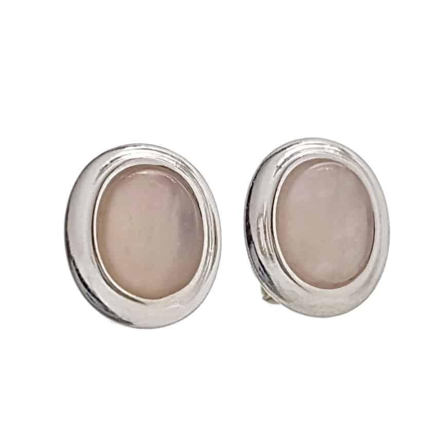 Pendientes plata 925 con piedra oval de cuarzo rosa (2)