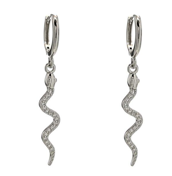 Pendientes plata 925 serpientes con circonitas (2)