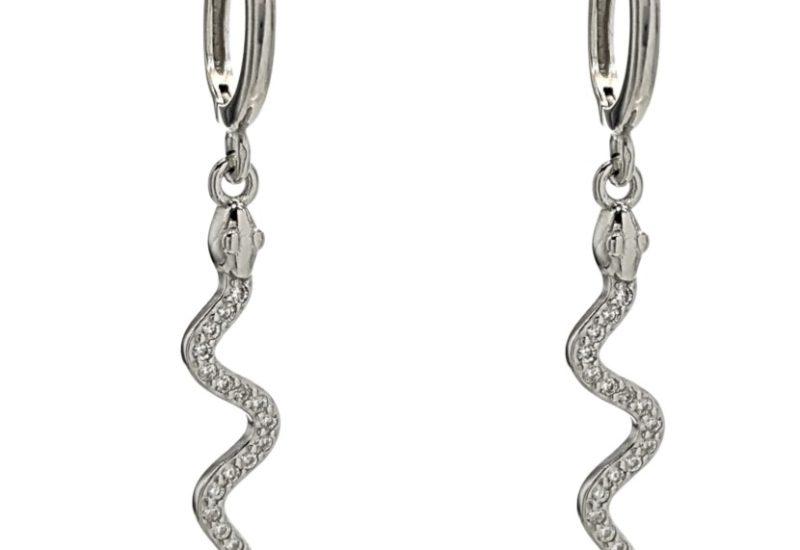 Pendientes aros serpientes con circonitas en plata 925