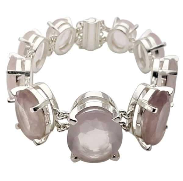 Pulsera exclusiva de plata 925 y cuarzo rosa natural piedras facetadas