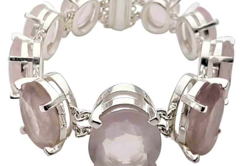 Pulsera TOP de plata 925 y cuarzo rosa natural piedras facetadas