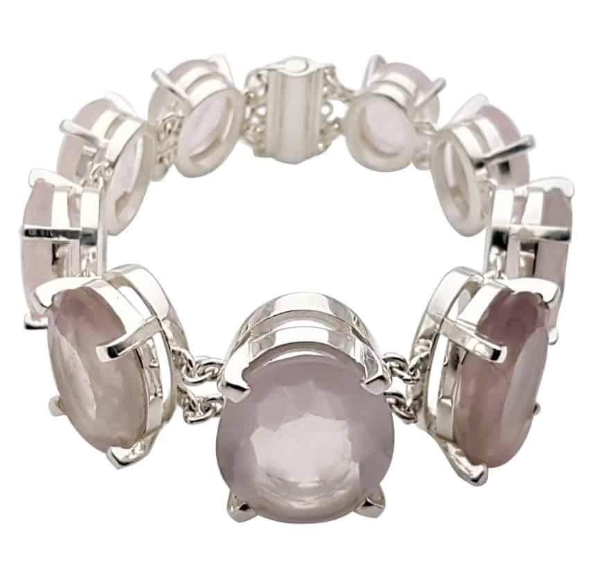 Pulsera exclusiva de cuarzo rosa de plata (1)