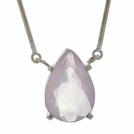 Collar gargantilla lágrima de cuarzo rosa en plata 925