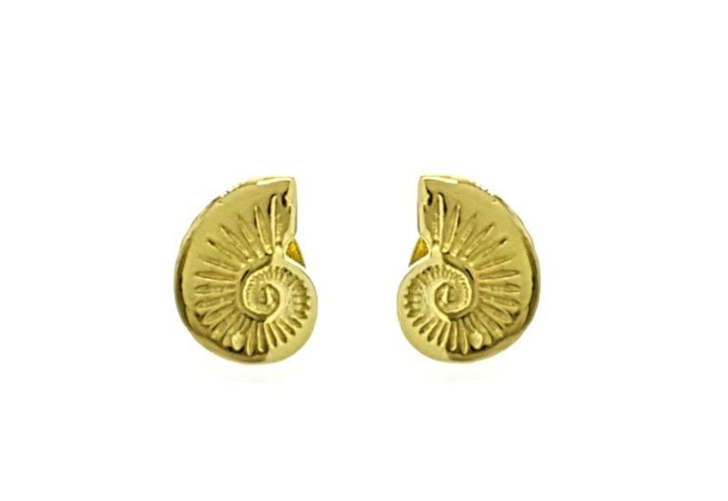 Pendientes mini modelo Nautilus en plata chapada en oro