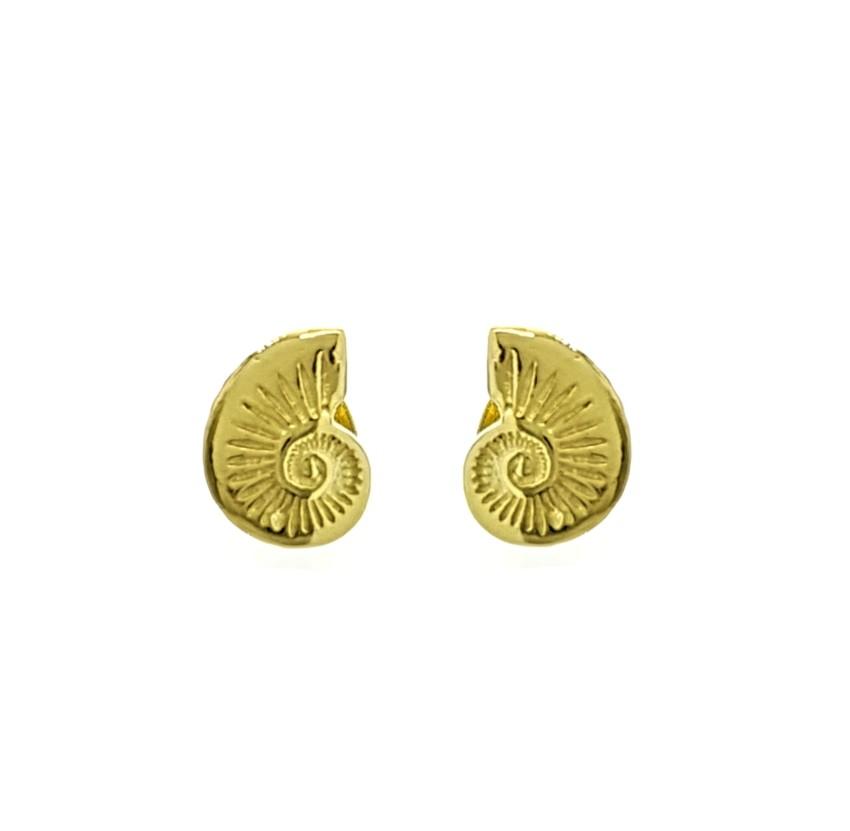 pendientes concha Nautilus en plata chapada en oro (1)