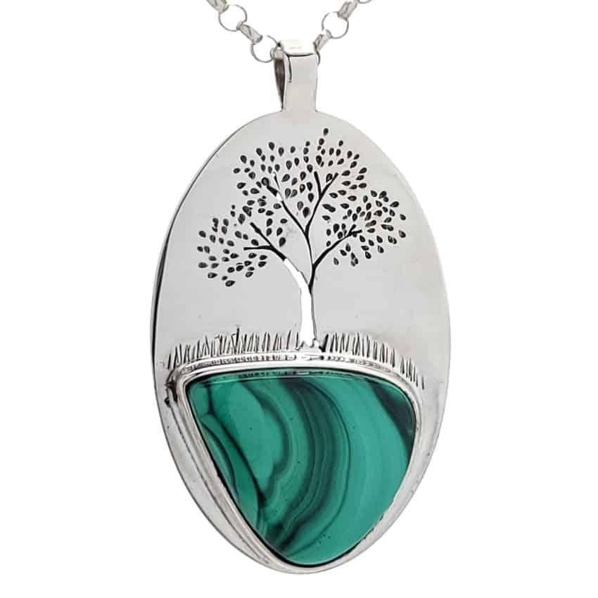 Colgante árbol de la vida con piedra en lágrima de malaquita (3)