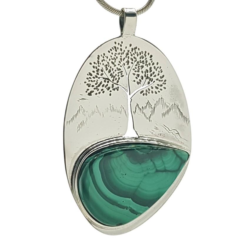 Colgante malaquita y árbol de la vida en plata (4)