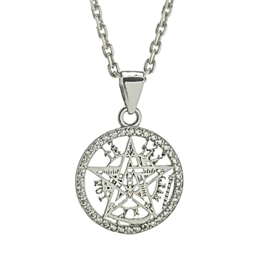Colgante protección tetragramatón con filo de circonitas en plata 925 (2)