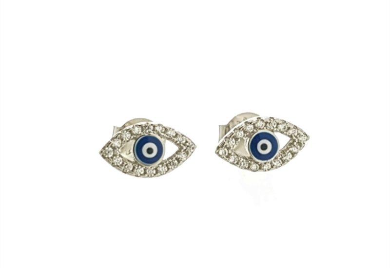 Mini pendientes ojo turco con circonitas en plata 925