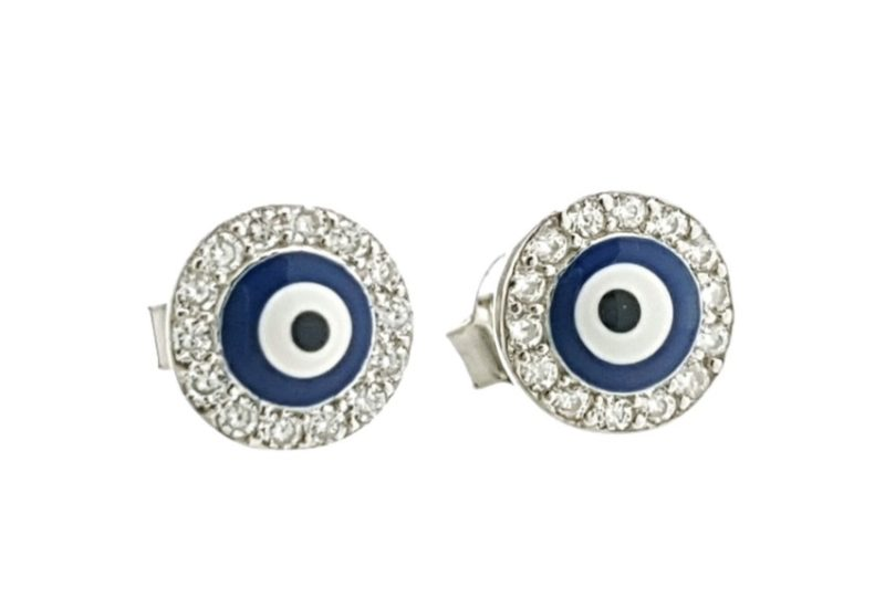 Mini pendientes ojo turco sobre cerco redondo de circonitas