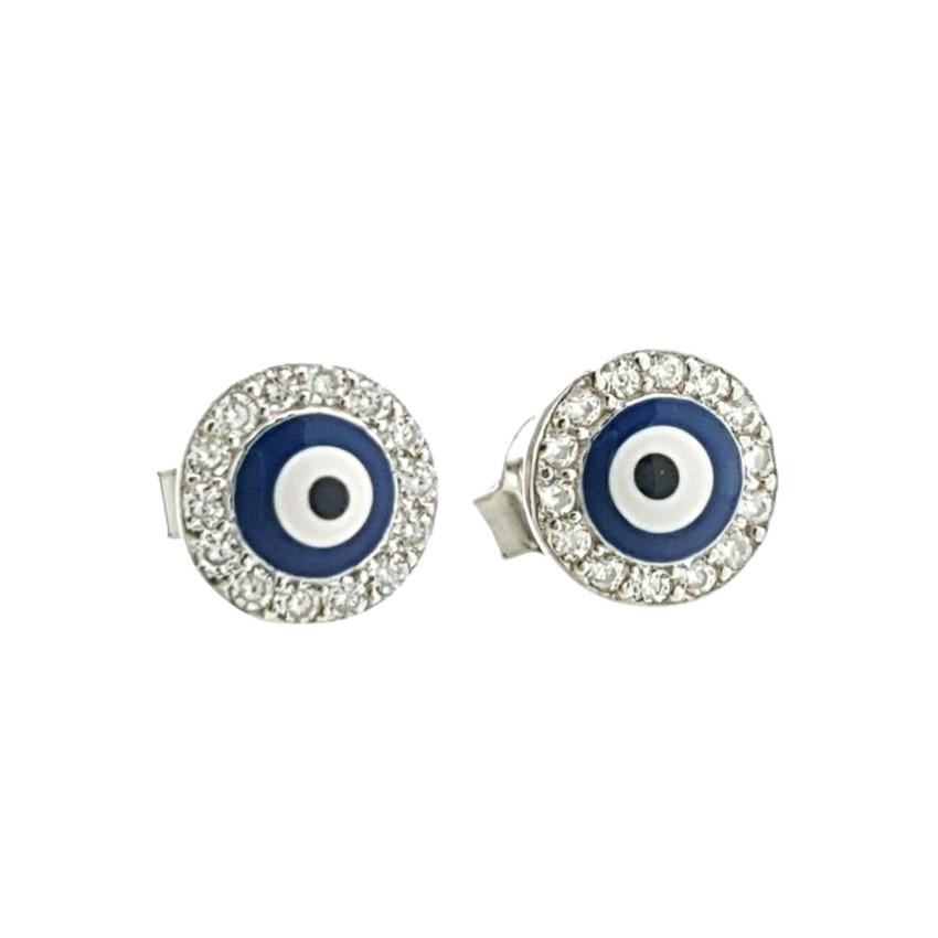 Mini pendientes ojo turco en plata 925 en cerco redondo (2)