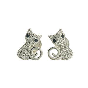Pendientes gato elegante con circonitas en plata 925