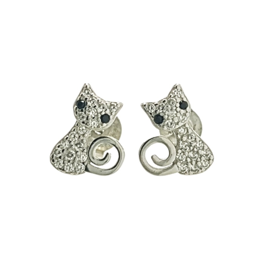 Pendientes gato de circonitas en plata 925 (2)