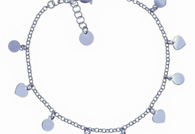 Pulsera 10 chapitas de corazones y círculos en plata 925