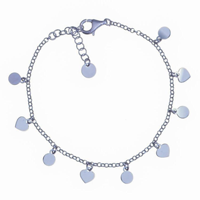 Pulsera 10 chapitas de corazones y círculos en plata 925-1