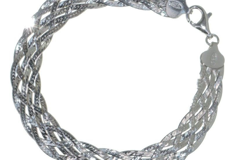 Pulsera 6 hilos trenzados de plata 925 de 20 cms. de largo.