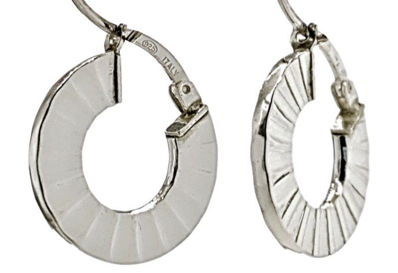 Aros plata 925 de 18 mm. diseño en abanico con cierre catalán