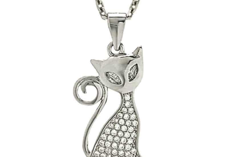 Colgante gato elegante con circonitas en plata 925