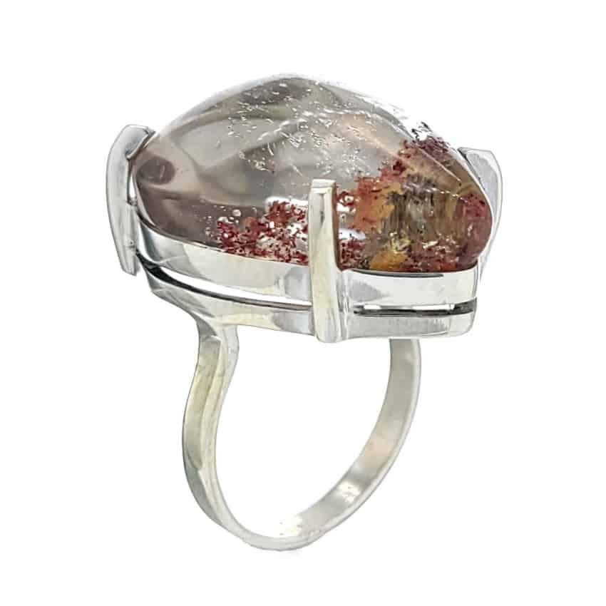 Anillo lágrima de cuarzo lodolita en plata 925 (2)