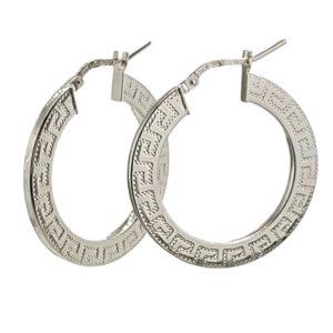 Argollas greca planas de 30 mm. en plata 925