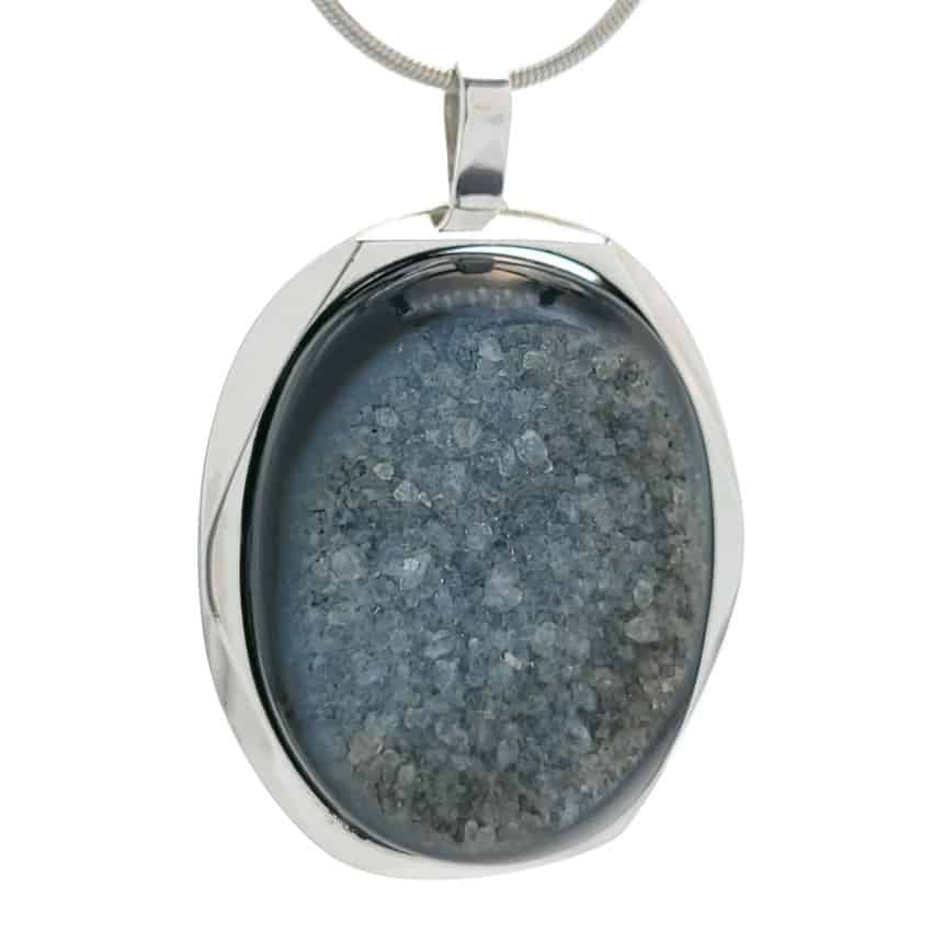 Colgante druzy onix – piedra oval ágata negra en plata (3)